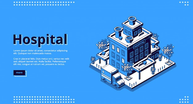 Hospital isometric landing page. clinic building