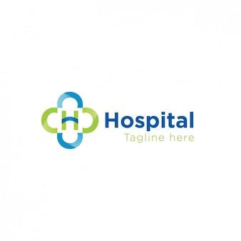 녹색과 파란색의 병원 로고