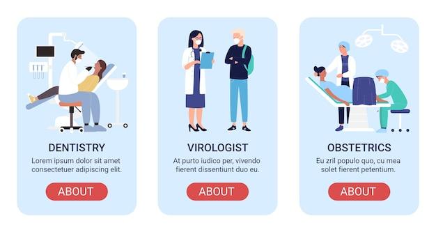 Страница мобильного приложения больницы медицинского обслуживания на экране с доктором вирусологом