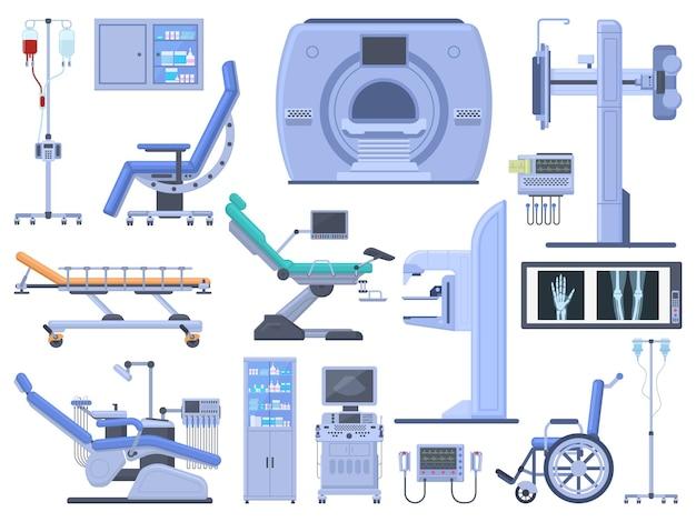 Инструменты медицинского диагностического оборудования для больниц. стул стоматолога, инвалидная коляска, переливание крови, кардиограф, ультразвук, набор векторных символов рентгеновского аппарата. современные технологии для медицины