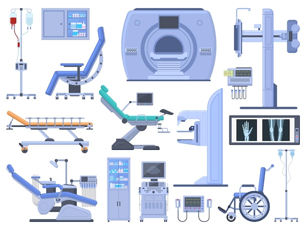 Hospital medical diagnostic healthcare equipment tools. dentist chair, wheelchair, blood transfusion, cardiograph, ultrasound, x-ray machine vector symbols set. modern technology for medicine