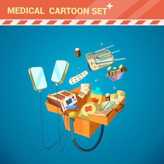 Hospital medical equipment cartoon set with syringe and pills