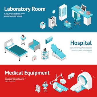 Hospital medical equipment flat banners set