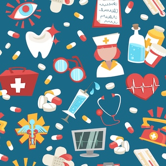 Hospital medical health care emergency support seamless pattern vector illustration