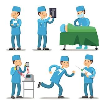 病院の医療スタッフのキャラクター。外科医の医者の漫画。