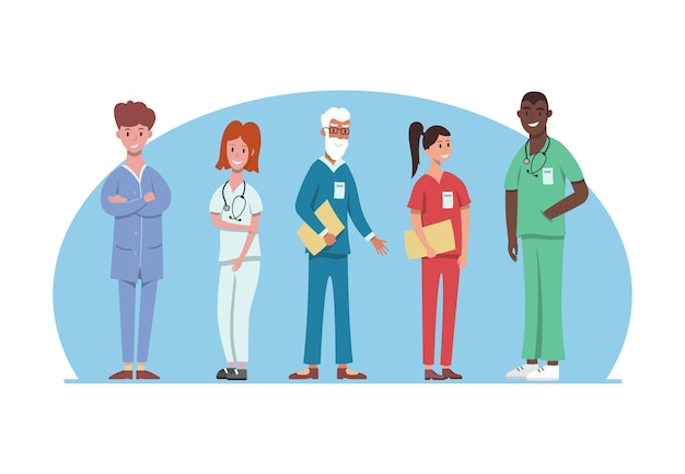 Hospital medical staff in different uniform. professional hospital services, male and female doctors team. medical workers  .