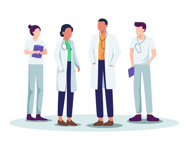 Медицинский персонал больницы, встреча врачей и медсестер, бригада врачей со стетоскопом. бригада врачей и медицинского персонала, группа специалистов здравоохранения.