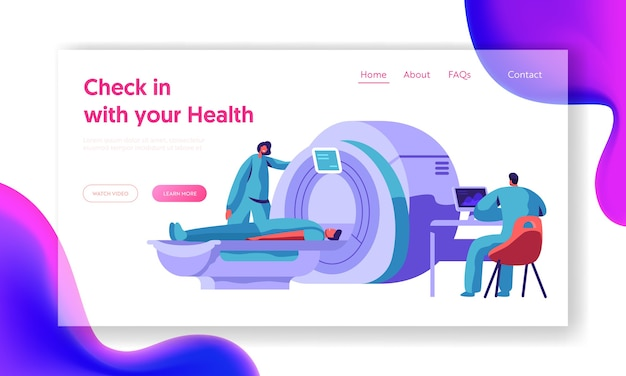 Hospital mri machine for patient brain scan landing page. doctor research man character health with computer tomography scanner diagnostic concept website or web page. flat cartoon vector illustration