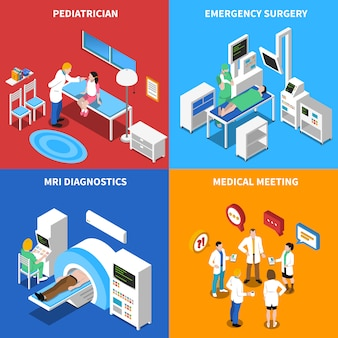 Hospital patient isometric elements and characters