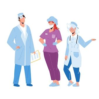 Больница люди доктор и медсестра коллеги вектор. сотрудники больницы людей, носящих профессиональную форму, лицевую маску и стетоскоп. персонажи клиники работники плоский мультфильм иллюстрации