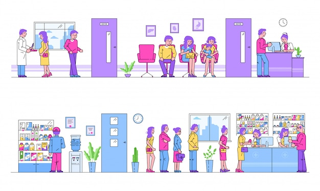 Hospital or pharmacy people queue for treatment healthcare cartoon illustration.
