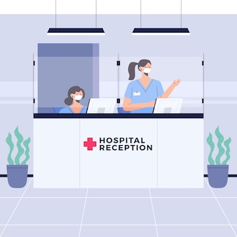 Hospital reception scene with people wearing face masks