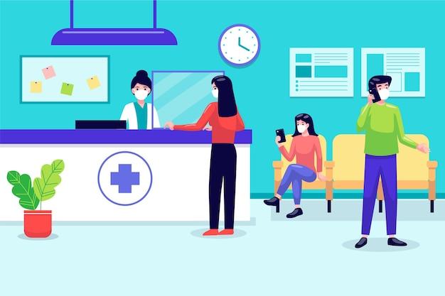 病院の受付シーン