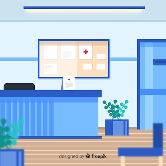 Hospital reception with flat design