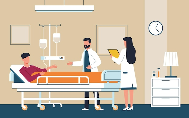 Hospital room. doctor in uniform and nurse provide medical care to sick patient in intensive therapy ward lying on bed, consultation and diagnosis modern aid interior healthcare flat vector concept