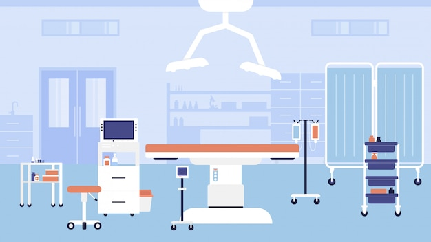 Hospital room interior  illustration. cartoon empty medic office hospital workplace for doctors appointment or consultation, modern clinic medical furniture, equipment, bed and table background