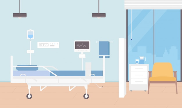 Hospital room interior  illustration, cartoon empty ward for patients hospitalization with modern medical equipment background
