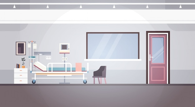Hospital room interior intensive therapy patient ward banner with copy space