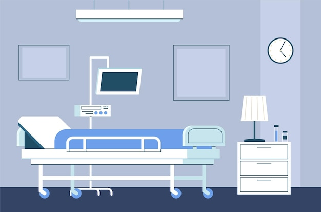 Hospital room interior. modern intensive therapy ward with bed on wheels and medical equipment emergency clinic with furniture monitor and dropper healthcare vector flat aid concept in blue colors