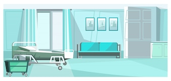 Hospital room with bed on wheels illustration