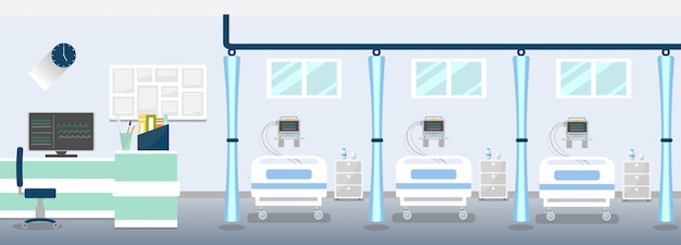 Hospital room with central patient monitor in nurse station