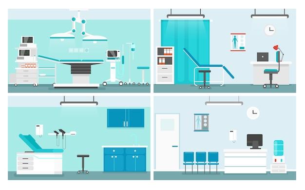 Больничные палаты. доктор офис мультфильм дизайн интерьера пакет. зал ожидания и коридор медицинского центра