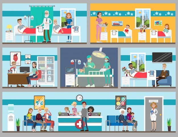 Hospital rooms set. doctor's office and ward, children and adults. Premium Vector