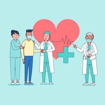병원 현장 심장 전문의가 환자의 심장 질환을 검사하고 검사 결과를 알리고 격려합니다. 평면 그림