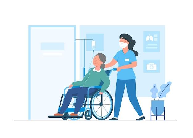 병원 서비스 개념 평면 그림입니다. 병원 직원은 의사의 진찰실에 식염수 환자를 위한 휠체어를 제공합니다.