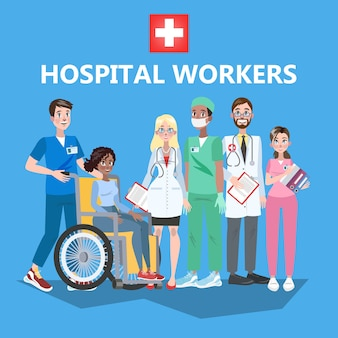 病院スタッフ。制服を着た医療従事者のグループ