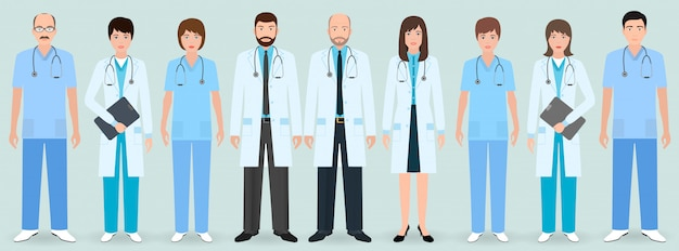 病院スタッフ。 9人の男性と女性の医師と看護師のグループ。医療関係者。