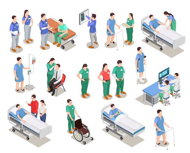 Gente isometrica dei pazienti del personale ospedaliero