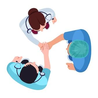 Персонал больницы полу плоской цветовой векторной иллюстрации rgb. команда здравоохранения. хирург и медсестра. персонал отдела кликов. основные медицинские работники изолировали героев мультфильмов на белом фоне