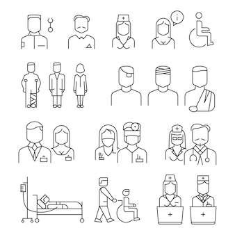Hospital staff thin line icons set