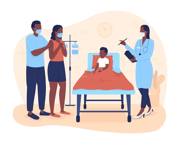 Hospital stay for kid 2d vector isolated illustration. parents listening physician about son treatment plan flat characters on cartoon background. child hospitalization colourful scene