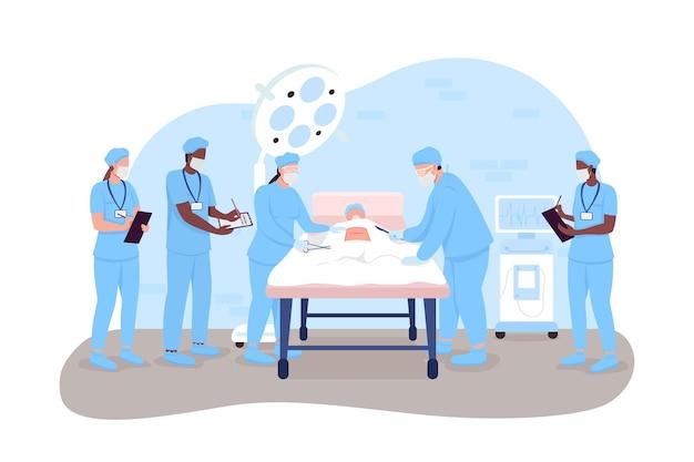 Больничная хирургия 2d вектор изолированных иллюстрация. врачи и медсестры в операционной. хирурги и медицинские интерны плоские персонажи на фоне мультфильмов. клиническая процедура красочная сцена