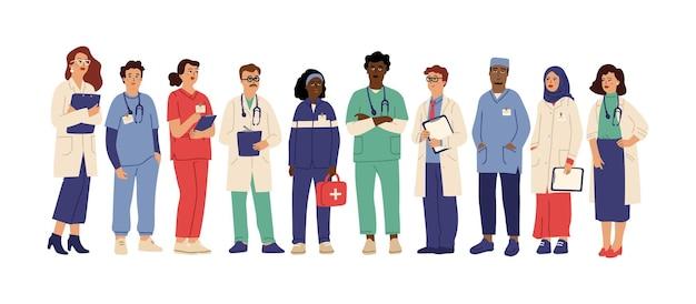 病院チーム。制服を着た医療従事者、医療従事者の管理者医師。薬剤師クリニックスタッフのしゃれたベクトル。医療チームの医師、専門病院、スタッフクリニックのイラスト