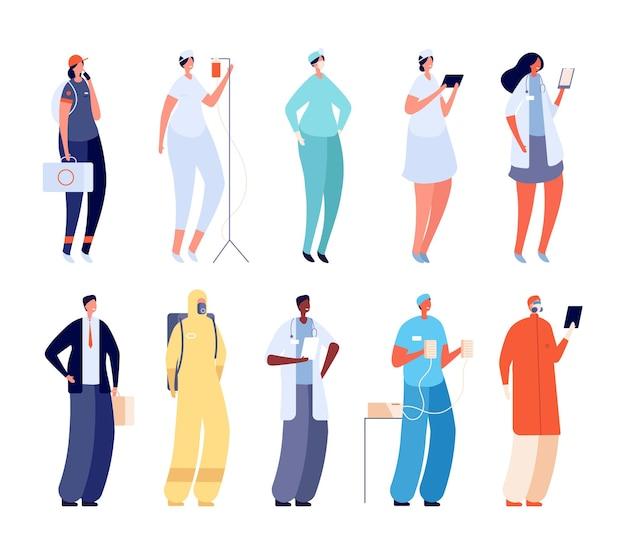 병원팀. 여자 의료 유니폼입니다. 플랫 관리자, 의사 및 간호사. 만화 클리닉