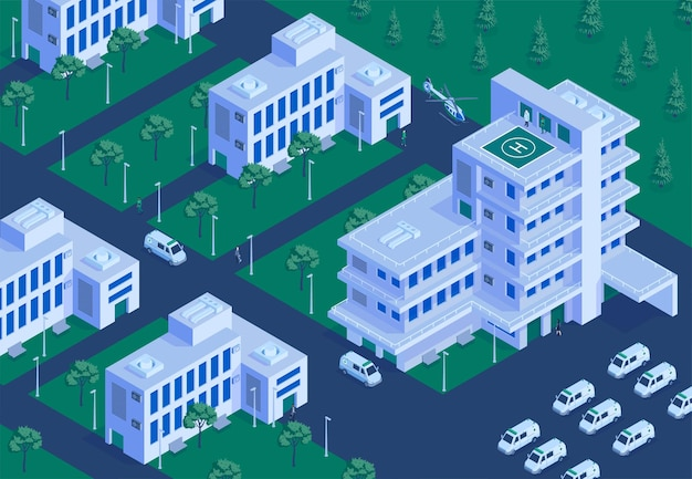 Hospital terrein outdoor isometric aerial overview with buildings collection emergency helicopter landing ambulance parking lot illustration