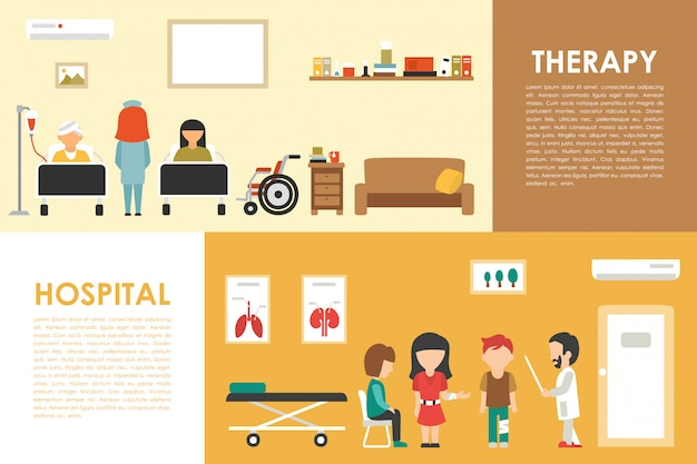 Hospital therapy flat medical hospital interior concept web vector illustration. doctor, p