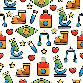 병원 도구 만화 낙서 원활한 패턴 디자인