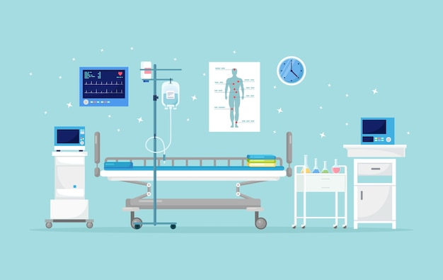Больничная палата для пациента. интерьер комнаты интенсивной терапии с кроватью