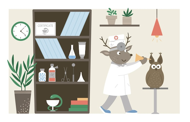 Hospital ward. funny animal doctor checking patients ears in clinic office. medical interior flat illustration for kids. health care concept