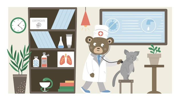 Hospital ward. funny animal doctor listening to patients lungs in clinic office. medical interior flat illustration for kids. health care concept