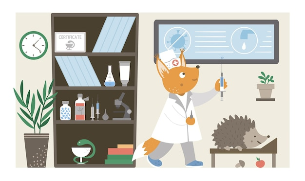 Hospital ward. funny animal nurse making injection in clinic office. medical interior flat illustration for kids. health care concept