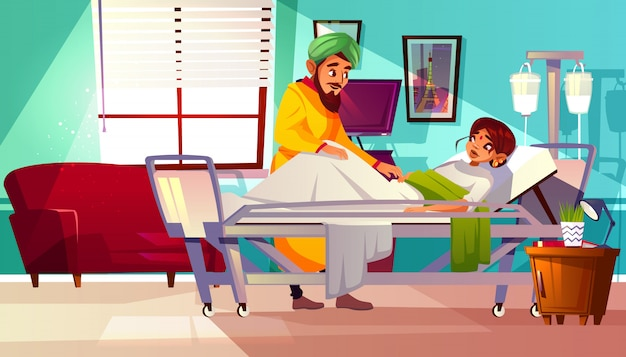 Hospital ward illustration of indian woman patient lying on medical couch and visitor man.