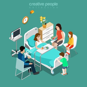 Hospital ward patient bed family care visiting flat isometric medical