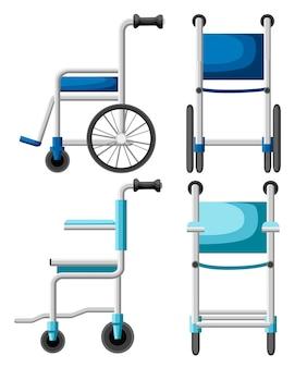 병원 휠체어. 파란색과 청록색 휠체어. 전면 및 측면보기 그림. 스타일. 흰색 배경에
