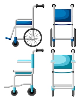 Hospital wheelchair. blue and turquoise wheelchair. front and side view illustration.   style.  on white background Premium Vector
