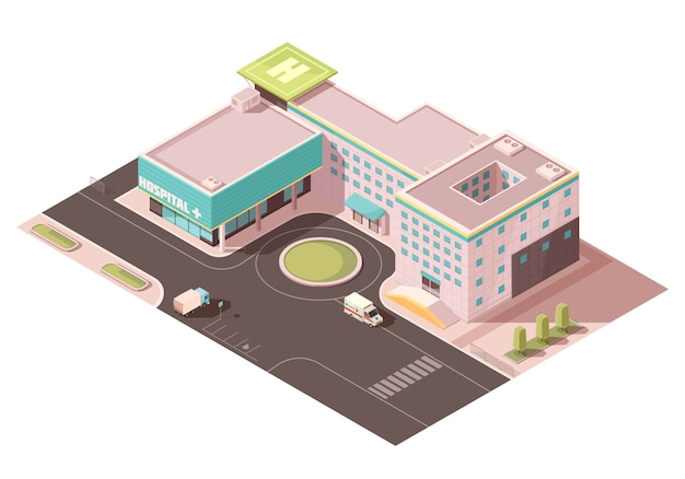 Hospital with signage, helicopter pad and ventilation equipment on roof, road infrastructure, transportation